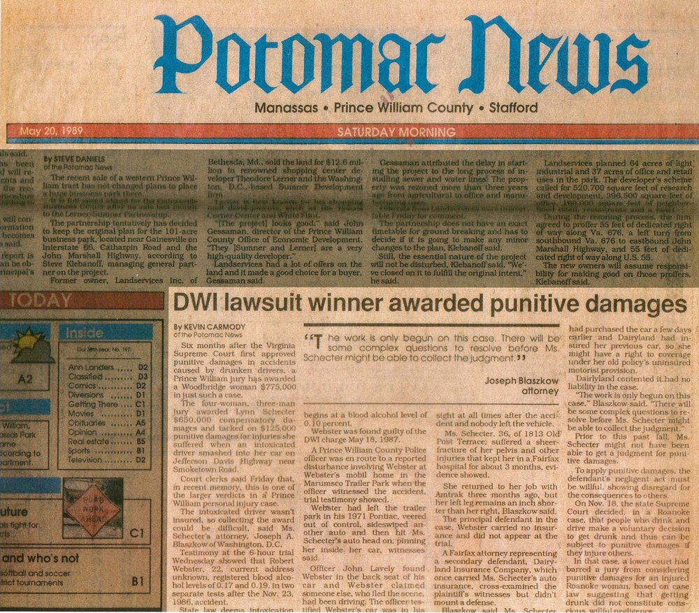 Potomac News of Ma 20, 1989, recognizing Mr. Blaszkow's victory in one of Virginia's first Punitive Damages cases involving a DUI